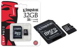 Kingston microSDHC 32GB, 10-tos klasės + SD adapteris