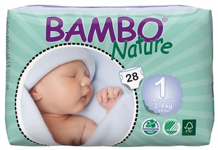 Ekologiškos sauskelnės BAMBO Newborn, 1, 2-4 kg, 28 vnt.