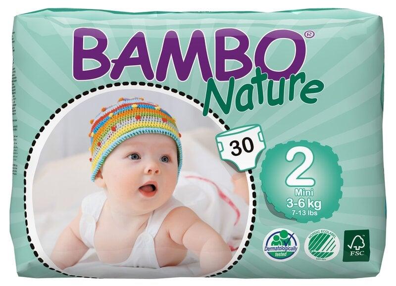 Ekologiškos sauskelnės BAMBO Nature Mini, 2, 3-6 kg, 30 vnt.