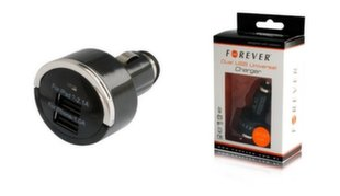 Forever Universal car charger USB 2in1 1A/2.1A (Black)