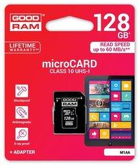 Atminties kortelė Goodram micro SDXC 128GB Class 10 +adapteris kaina ir informacija | Atminties kortelės telefonams | pigu.lt