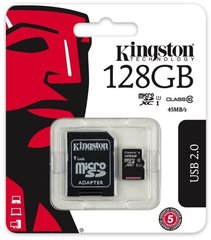 Kingston microSDHC (Gen II) 128 GB, 10 klasės + SD adapteris