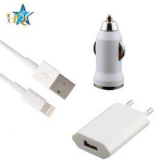 HQ 3in1 Universal 1A Charger Set - Travel USB / Car USB / Lightning USB Cable (EU Blister)