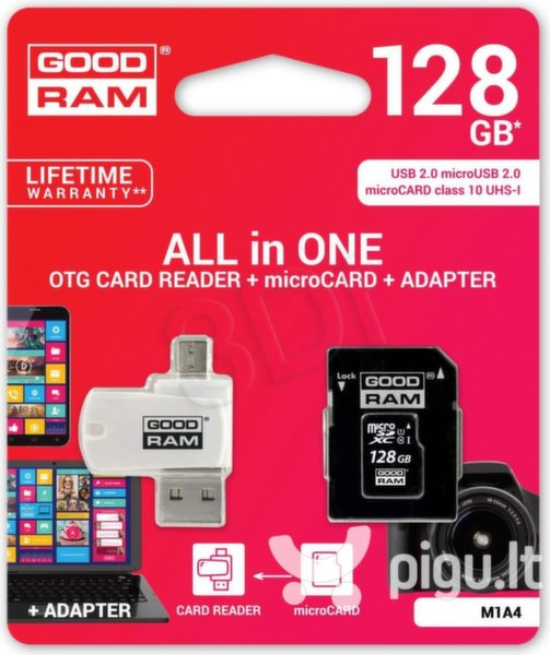 GOODRAM - microSDHC 128GB CL10 + ADAPTER + CZYTNIK