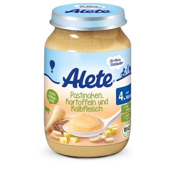 Pastarnokų, bulvių su veršiena tyrelė kūdikiams Alete BIO, nuo 4 mėn., 190 g