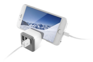 KSIX 3 USB WALL CHARGER 3.4A WITH HOLDER AND SMARTCHARGE WHITE