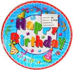 Lėkštutės Happy Birthday, 18 cm/6 vnt. kaina ir informacija | Dekoracijos, indai šventėms | pigu.lt