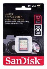 Atminties kortelė SANDISK 32GB Extreme SDHC UHS-I U3 V30 90/40 MB/s kaina ir informacija | Atminties kortelės fotoaparatams, kameroms | pigu.lt
