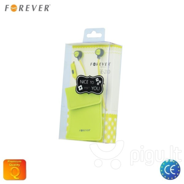 Forever SE-210 In-Ear Comfort Stereo 3.5mm In-Ear Flat Cable Headset with mic/remote Light Green