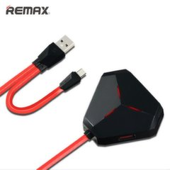 Remax RU-U3 USB Hub 2.0 3 Port Splitter 55cm Cable + Micro USB OTG Apapter Black