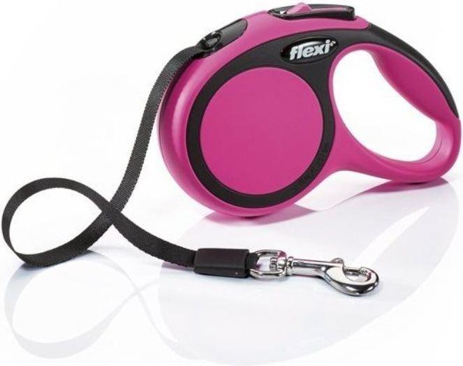 Flexi pavadėlis New Comfort S, 5 m, rožinis kaina ir informacija | Pavadėliai, antkakliai, petnešos šunims | pigu.lt
