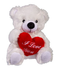 """Baltas pliušinis meškiukas su širdele """"I love you"""""""