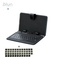 "Blun T-Line Universal book case with Built-in Micro USB Cable Keyboard and stand for Tablet PC till 9.7"" screen Black"