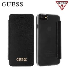 GUESS GUFLBKP7IGLTBK IriDescent Eco-leather and plastic ultra slim book case Apple iPhone 7 4.7inch Black
