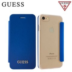 GUESS GUFLBKP7IGLTBL IriDescent Eco-leather and plastic ultra slim book case Apple iPhone 7 4.7inch Blue