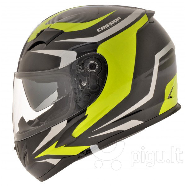 Motociklininko šalmas Cassida Integral 2.0 Juoda/pilka/geltona