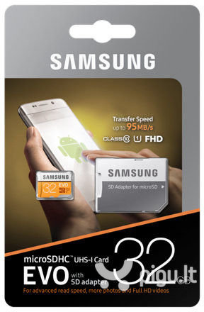 Atminties kortelė Samsung EVO microSDHC 32GB UHS-I U1 pigiau