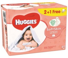 Drėgnos servetėlės HUGGIES Soft Skin, 168 vnt.