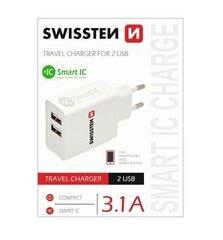 Swissten kroviklis Smart IC USB 2.1+1A, Baltas