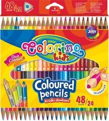 Spalvoti dvipusiai pieštukai, 24 vnt./ 48 spalvos, Colorino Kids kaina ir informacija | Kanceliarinės prekės | pigu.lt