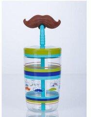 Gertuvė vaikams Contigo Bueno Funny Straw Electric Blue Mustache 470ml