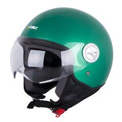 Motorolerio šalmas W-TEC FS-701G Retro žalios spalvos