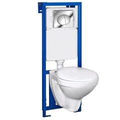 WC komplektas Kerra K50: WC potinkinis rėmas + klozetas + mygtukas + lėtai nusileidžiantis dangtis kaina ir informacija | Klozetai | pigu.lt