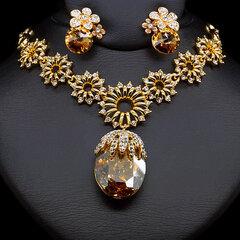 """Papuošalų rinkinys moterims DiamondSky """"Sunny Chameleon"""" su Swarovski kristalais"""