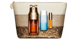 Rinkinys veido priežiūrai Clarins Holiday Anti Ageing: veido serumas 30 ml + akių makiažo valiklis 30 ml + aliejus lūpoms 2.8 ml+ kosmetinė kaina ir informacija | Serumai, veido kaukės | pigu.lt