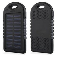 Mocco F1 Carabiner Solar Power Bank 6000mAh Universal Charger for Devices 5V 1A + Micro USB Cable Black