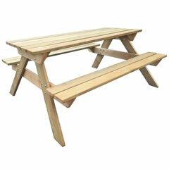 Medinis pikniko stalas, 150 x 135 x 71,5 cm kaina ir informacija | Lauko stalai, staliukai | pigu.lt