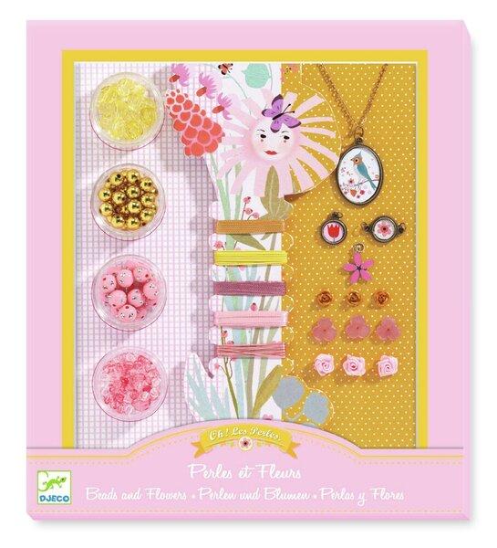 Kūrybinis rinkinys Gėlės ir perlai,Djeco, DJ09801 kaina ir informacija | Lavinamieji žaislai | pigu.lt