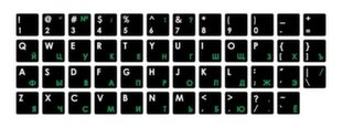 Mocco Keyboard Sticks ENG / RU With Laminated Waterproof Level Black / Green