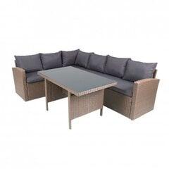 Lauko baldų komplektas Hamburg, pilkas/rudas kaina ir informacija | Lauko baldų komplektai | pigu.lt