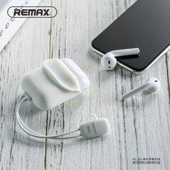 Remax RC-A6 apsauginis silikoninis Apple Airpods ausinių kroviklio dėklas su 9 cm Lightning laidu, baltas