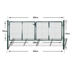 Sodo vartai, 289x100 cm/306x150 cm, plienas, žali kaina ir informacija | Tvoros, vartų automatika | pigu.lt
