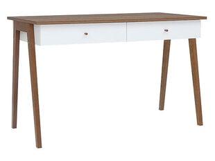 Rašomasis stalas Heda 2S, baltas/rudas kaina ir informacija | Kompiuteriniai, rašomieji stalai | pigu.lt