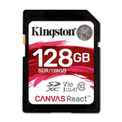Kingston 128GB SDXC Canvas React 100R/80W CL10 UHS-I U3