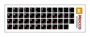 Mocco klaviatūros lipdukai (ENG / RU) su laminuotu vandeniui nepralaidžiu paviršiumi, baltos ir raudonos raidės kaina ir informacija | Klaviatūros | pigu.lt