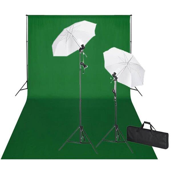 Rinkinys fotostudijai: žalias fonas 600 x 300 ir šviestuvai kaina ir informacija | Priedai fotoaparatams | pigu.lt
