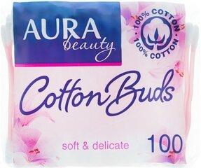 Kosmetiniai ausų krapštukai Aura 100 vnt. kaina ir informacija | Vatos gaminiai, drėgnos servetėlės | pigu.lt