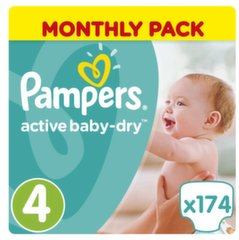 Sauskelnės PAMPERS Active Baby Monthly Box 4 dydis 174 vnt.