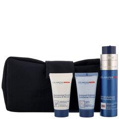 Kūno ir veido priežiūros rinkinys vyrams Clarins: veido prausiklis 30 ml + šampūnas ir dušo želė 30 ml + veido gelis 50 ml + kosmetinė kaina ir informacija | Veido kremai | pigu.lt
