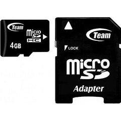 Atminties kortelė Flash Micro-SD 4GB Team C10 1Adp kaina ir informacija | Atminties kortelės telefonams | pigu.lt
