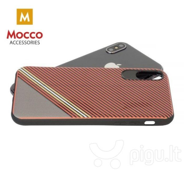 Apsauginis dėklas Mocco Trendy Grid And Stripes Silicone Back Case Apple iPhone 7 Plus / 8 Plus Red (Pattern 1) kaina