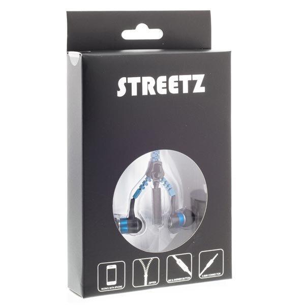 """Ausinės STREETZ, į ausis, su mikrofonu, """"užtrauktukas"""", mėlynos / HL-217"""