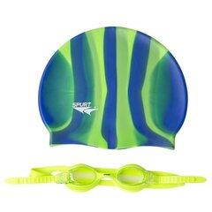 Plaukimo kepuraitės ir akinių rinkinys Spurt, žalias/mėlynas kaina ir informacija | Plaukimo rinkiniai | pigu.lt
