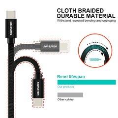 Universalus kabelis Swissten Textile USB-C 3.0, 1.2 m, juodos spalvos