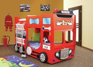 Dviaukštė lova su čiužiniais Fire Truck Double, raudona kaina ir informacija | Vaiko kambario baldai | pigu.lt