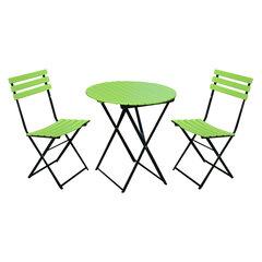 Lauko baldų komplektas Flip, žalias/juodas kaina ir informacija | Lauko baldų komplektai | pigu.lt